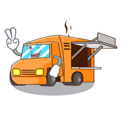 Two finger Food Truck with Isolated on mascot