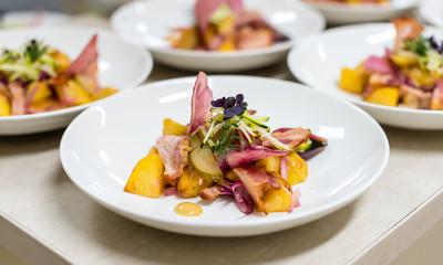 German potato salad in a restaurant