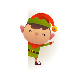 Christmas Cute elf standing behind blank signboard advertisement banner with copy space