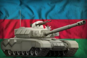 heavy tank on the Azerbaijan national flag background. 3d Illustration