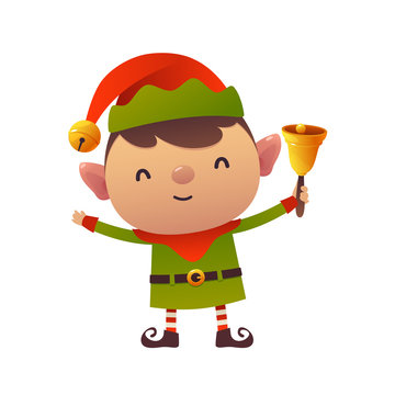 Cute cartoon christmas elf holds bell on white background happy new year greeting card