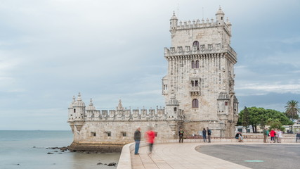 Belem Tower is a fortified tower located in the civil parish of Santa Maria de Belem timelapse in Lisbon, Portugal