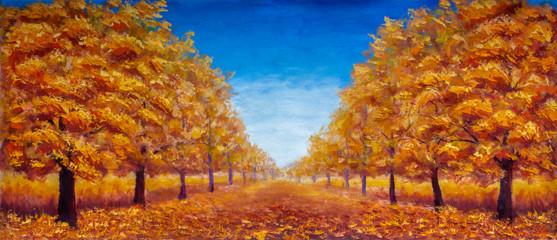 Autumn Oil painting landscape - colorful autumn forest alley park