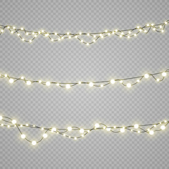 Christmas lights isolated on transparent background.  Set of xmas glowing garland. Vector illustration.