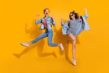 Fototapeta Full legs body size two attractive music lover leisure lifestyle obraz