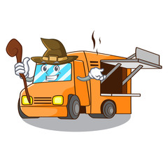 Witch food truck festival on shape cartoon