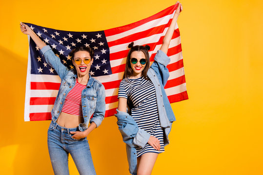 Two adorable good-looking travel trip lady in casual denim jeans
