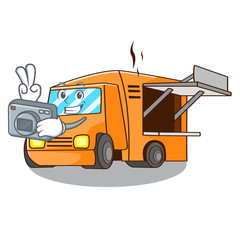Photographer food truck festival on shape cartoon