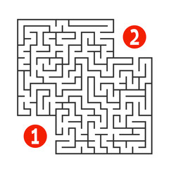 Abstract square maze. Find the way from one to two digits. Game for kids. Puzzle for children. Labyrinth conundrum. Flat vector illustration isolated on white background.