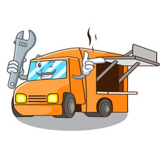 Mechanic character food truck with awning beautiful