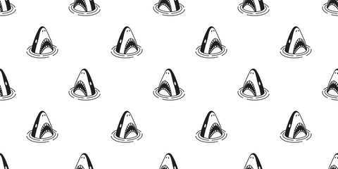 Shark seamless pattern vector fish fin dolphin whale tile background repeat wallpaper scarf isolated illustration