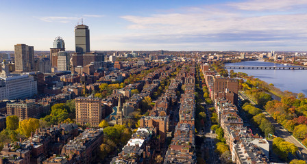 Fall Color Autumn Season South Boston Massachusetts Aerial View