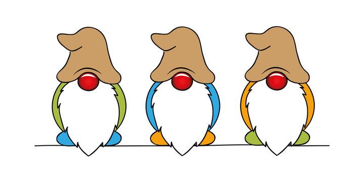 cute christmas dwarf colorful cartoon vector illustration EPS10