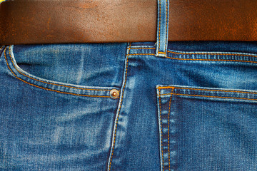 blue jeans with belt, close up