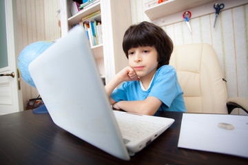 boy with computer, distance learning