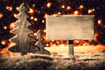 White Sign, Christmas Tree, Snowflakes, Copy Space, Snow
