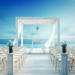 Beach wedding and Sea view for vacation and summer / 3d render outdoor