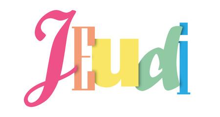 Bannière typographique coloré JEUDI