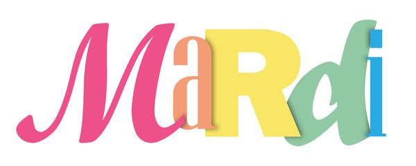 Bannière typographique coloré MARDI