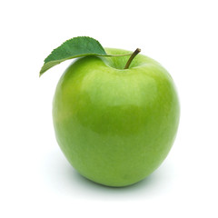 Whole green apple with leaf on white background including clipping path