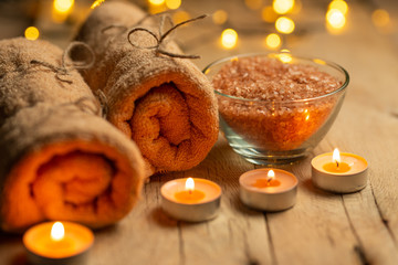 Beauty salon, spa, relaxation with candles sea salt and hot towels. Skin care and cleanliness. With...