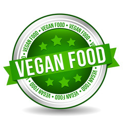 Wall Mural - Vegan food Badge - Online Button - Banner with Ribbon.