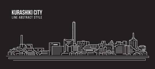 Cityscape Building Line art Vector Illustration design - Kurashiki city