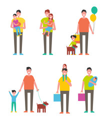 Fathers Day Poster Dads Holding Son and Daughter