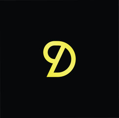 Outstanding professional elegant trendy awesome artistic black and gold color D DP PD initial based Alphabet icon logo.