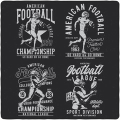 Set of the monochrome labels with the american football player. Illustrations with text compostitions. Ready designs for t-shirts, posters, greeting cards etc.