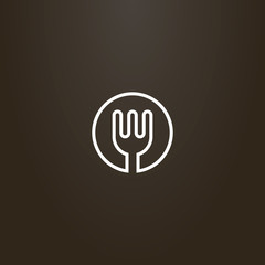white sign on a black background. vector line art round sign of kitchen fork