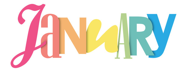 JANUARY colorful typographic banner