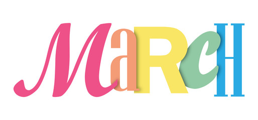MARCH colorful typographic banner Wall mural