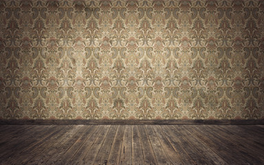 Empty old vintage room background. 3d rendering Wall mural