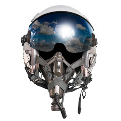 Pilot helmet isolated