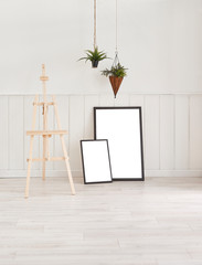 White wall and frame concept.