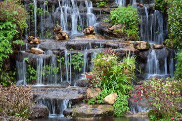Decorated with artificial waterfall in the park.