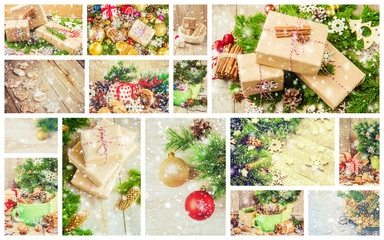 collage of Christmas pictures. Holidays and events.