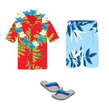 Hawaiian shirt, beach summer shorts, flower necklace and flip flops.