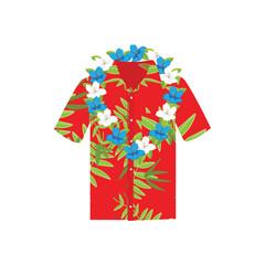 Vector illustration Hawaiian aloha shirt with flower wreath, necklace. Hawaii shirt aloha beach male cloth.