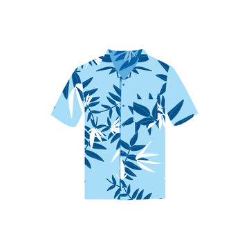 Vector illustration Hawaiian aloha shirt. Hawaii shirt aloha beach male cloth.