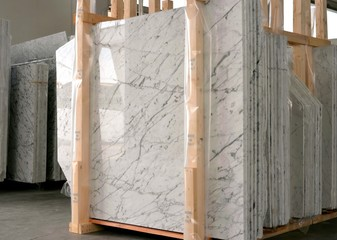 stack of marble slab - marble industry factory Wall mural