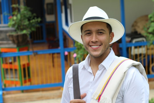 Traditional South American man at home