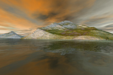 Islands, a mediterranean landscape, rocky mountains with grass on the ground, reflection on water and orange clouds in the sky.