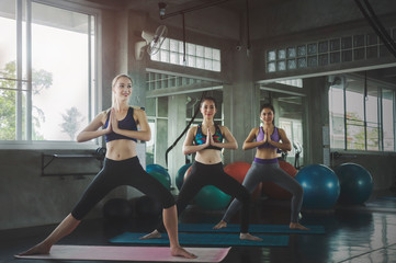 Group of young sporty attractive people practicing yoga lesson.