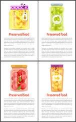 Fruits and Vegetables as Preserved Food Posters