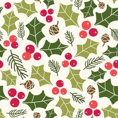 Seamless vector pattern with holly berries and pinecones. Great for wrapping paper, wallpaper, web page background, fabric, scrapbooking.