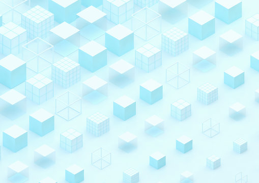 abstract background with blue and white cubes