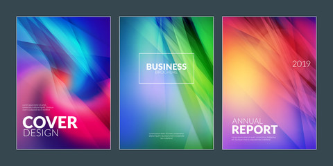 Business brochure cover design templates. Modern business flyer or poster with abstract blurred colorful background
