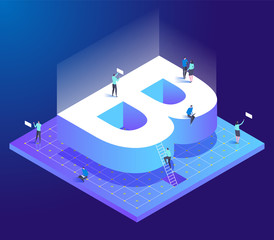 Isometric creative font. Letter B with small people.
